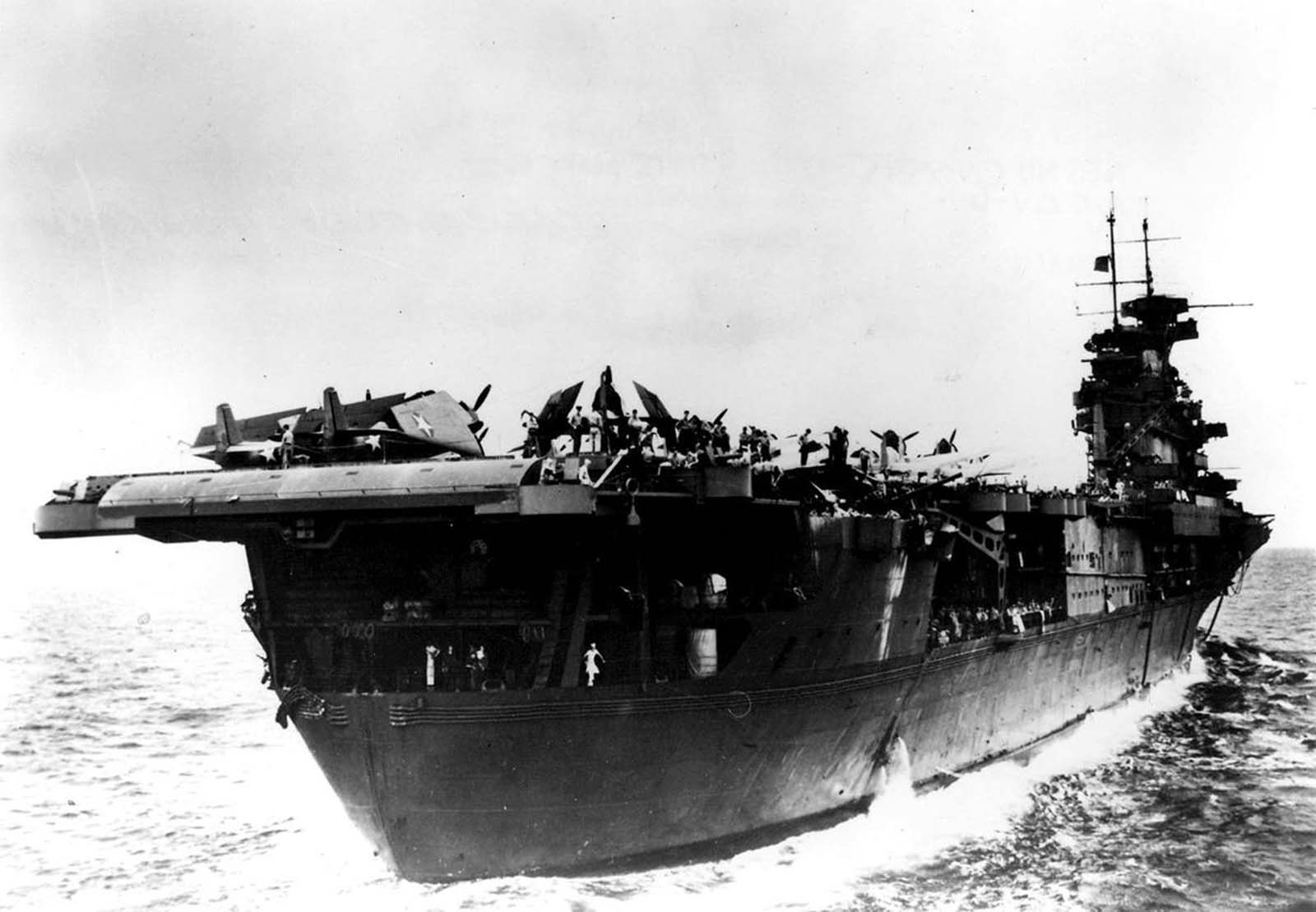 View showing the stern quarter of the aircraft carrier USS Enterprise in the Pacific in 1942.