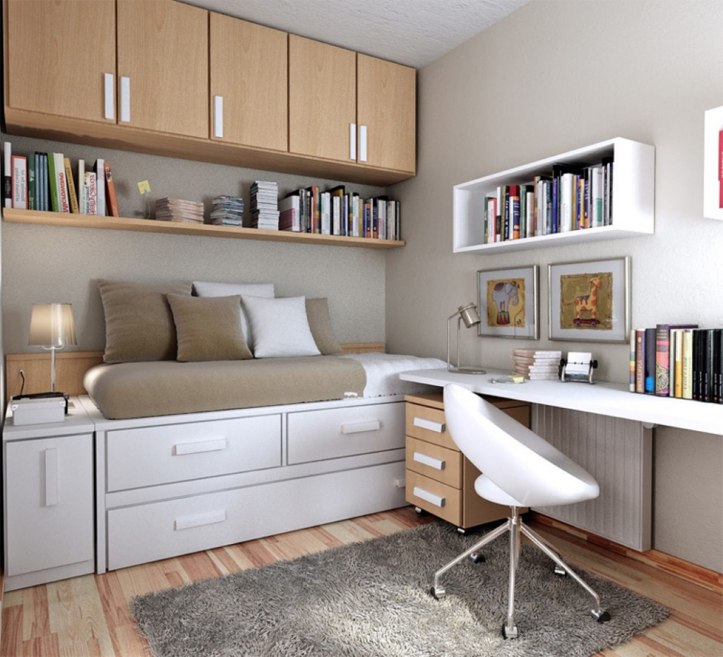 Gorgeous Space Saving Ideas for Small Teenage Desks ... on Teenager Small Space Small Bedroom Design  id=84556