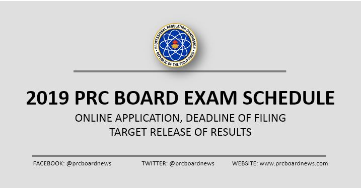 LIST: 2019 PRC board exam schedule, online application, deadline of filing and release of results