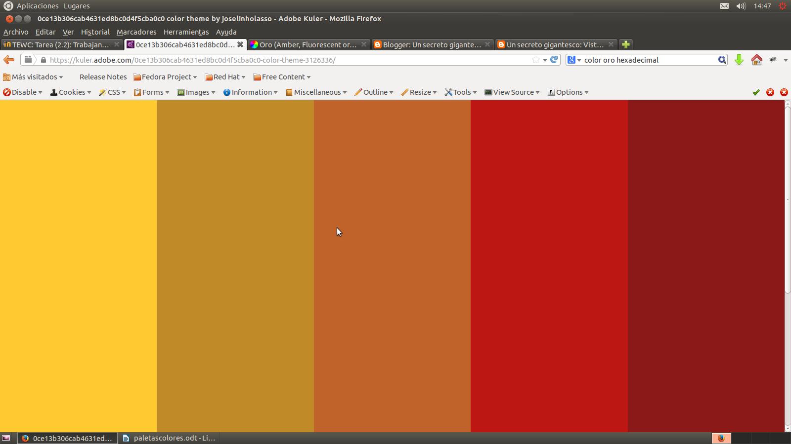 Un secreto gigantesco proyecto tewc paletas de colores ii - Gama de colores calidos ...