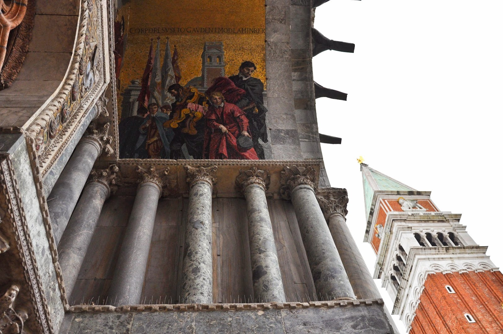 The restored mosaics on the facade of St. Mark's Basilica in Venice
