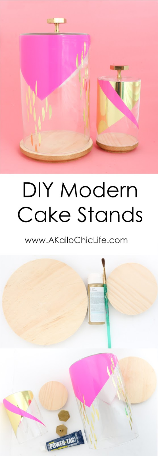 Learn how to make your own DIY Cake Stands, decorative cloche, or dessert stands using craft store supplies and adhesive vinyl in gold and pink - easy craft - diy home decor - Target and Oh Joy