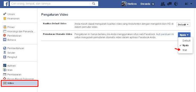 Cara Agar Video Di Facebook Tidak Memutar Sendiri / Matikan Fungsi Autoplay Facebook