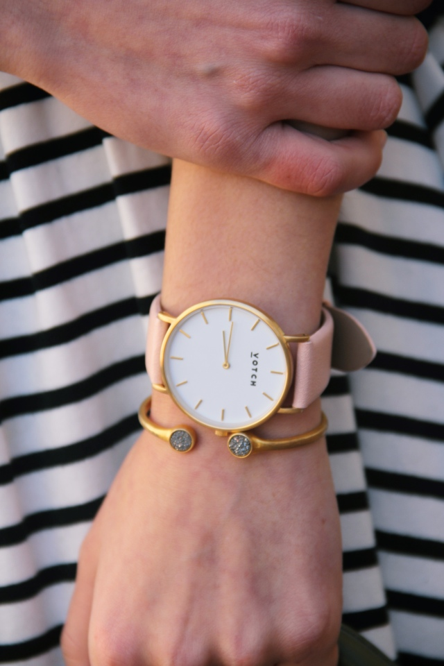 votch vegan leather pink and gold blush watch