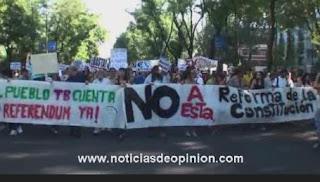 Videos: indignados 15M manifestación contra la reforma de la constitucion