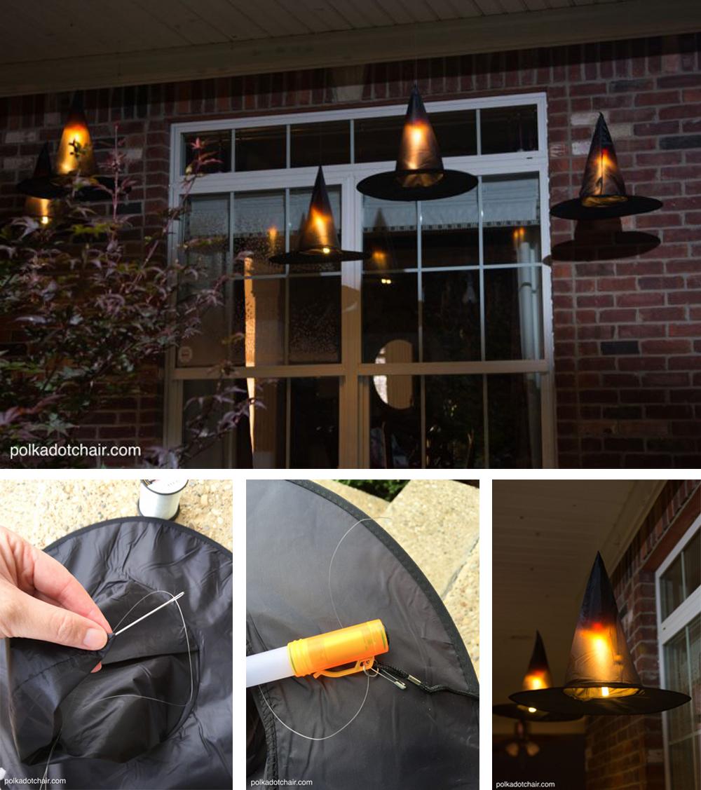 diy para decorar en halloween con sombreros de brujas  flotantes e iluminados de miedo para el exterior fácil y económico