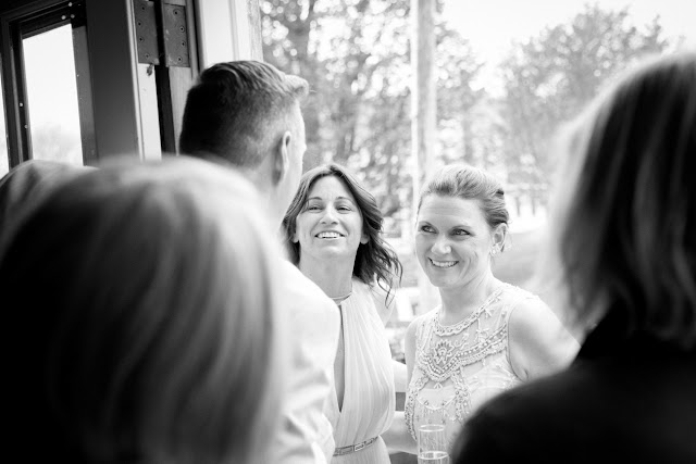 The brides smiling at Jonna and Heather's Inn at West Settlement Wedding by Karen Hill Photography