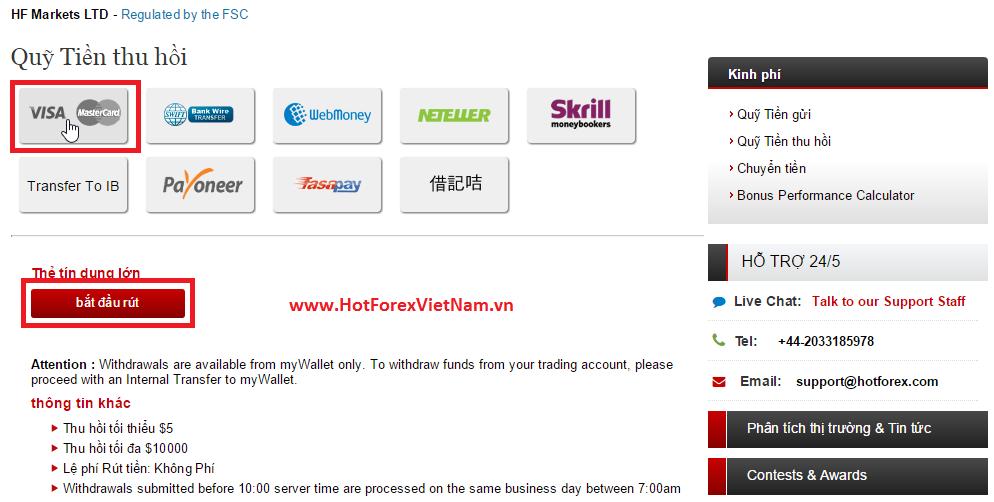 Rút tiền từ tài khoản HotForex về Visa