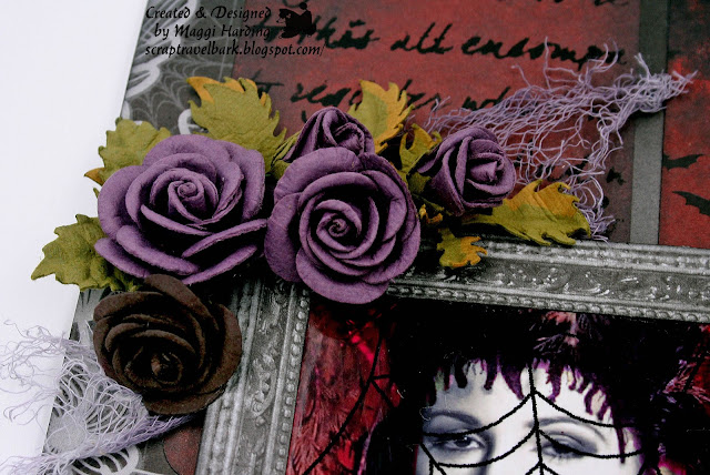 Halloween layout with DCWV and Little Birdie Crafts flowers.