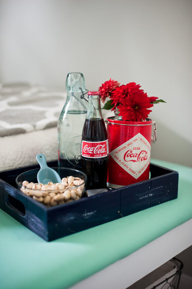 This little navy wooden tray is great for leaving your guests snack and drinks.