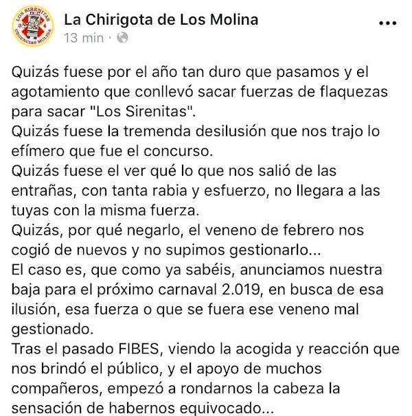 La Chirigota de los Molinas SI participará en el COAC 2019