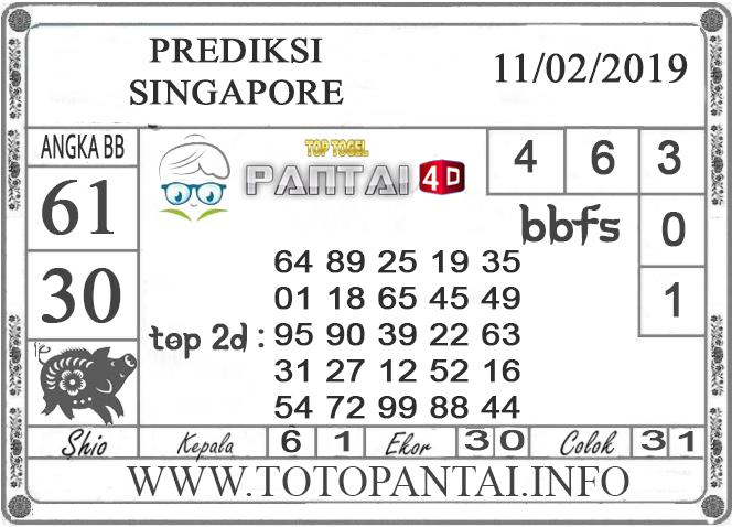 """Prediksi Togel """"SINGAPORE"""" PANTAI4D 11 FEBRUARI 2019"""