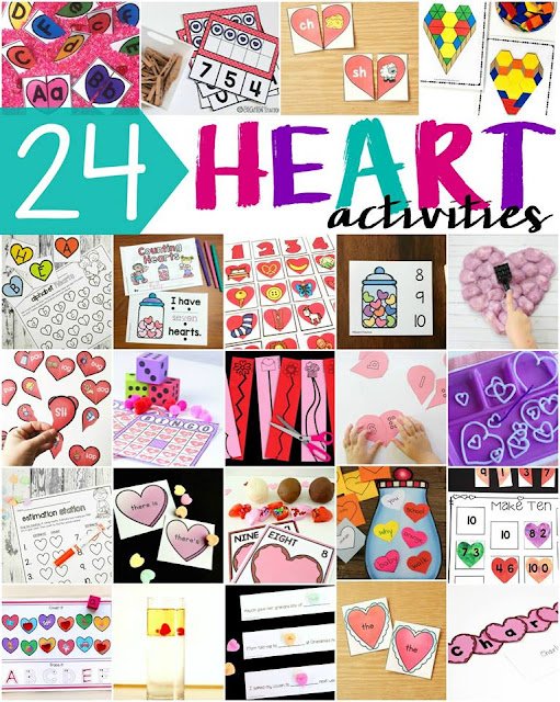 24 Heart activities with lots of freebies and great ideas for preschool, kindergarten, first and second grade.