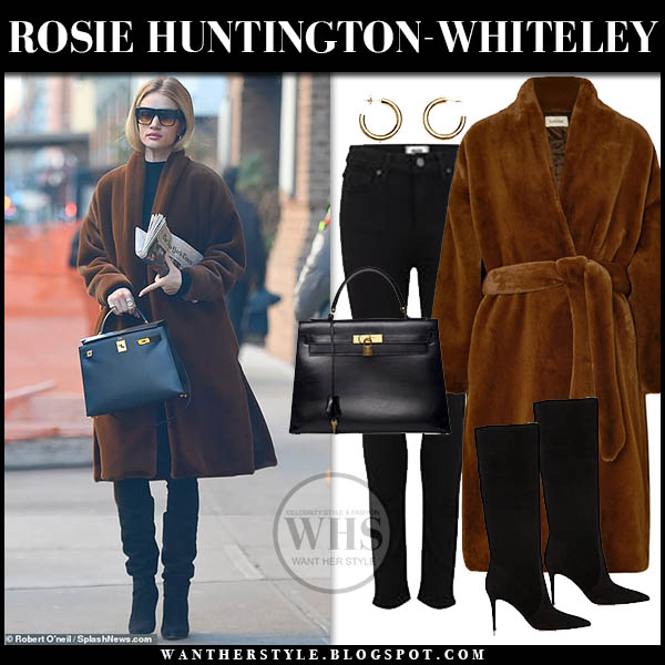 Rosie Huntington-Whiteley in brown faux fur toteme coat, black jeans and black suede knee high boots gianvito rossi winter celebrity style february 6