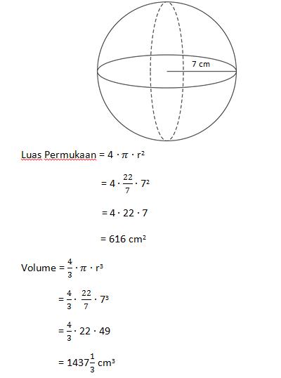 Luas Permukaan Bola : permukaan, Rumus, Volume, Permukaan, Contoh, Soalnya, Tutorial, Matematika