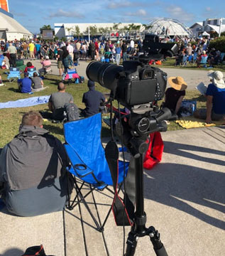 DSLR with 300mm telephoto setup for Falcon Heavy launch at KSC (Source: Palmia Observatory)