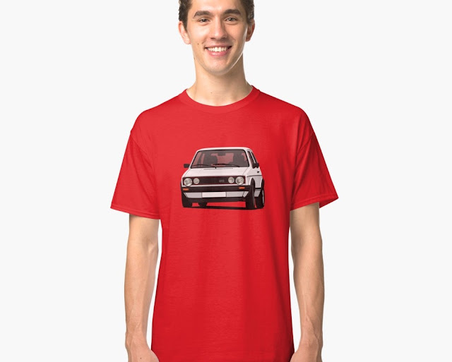 VW Golf I GTI - car t-shirt - white illustration