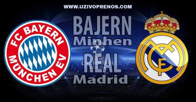 LIGA ŠAMPIONA: Bajern Minhen - Real Madrid UŽIVO PRENOS ONLINE