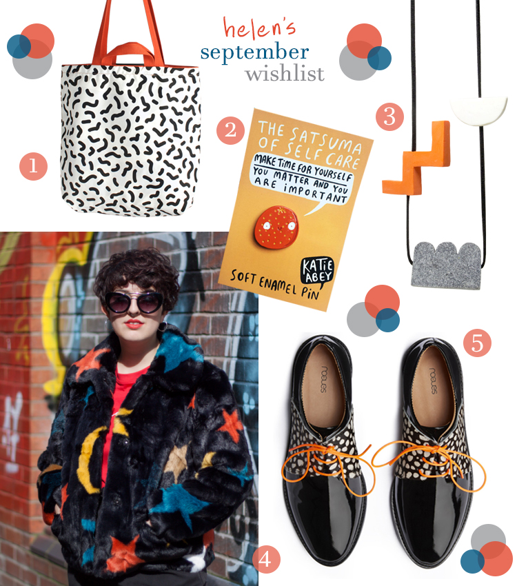 Blogger wishlist featurin Benjamin Craven black and white wiggle bag, satsuma pin by Katie Abey, geometric Ceremony Jewellery necklace, Thunder Egg faux fur jacket and Rogue Matilda shoes