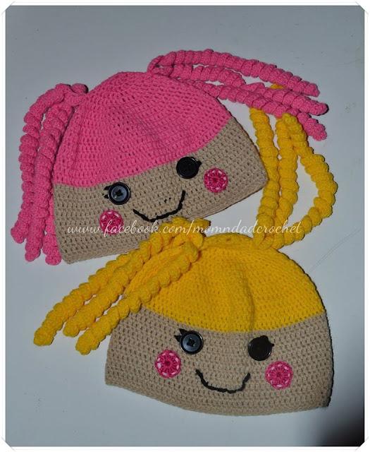 crochet hat, free crochet pattern, Lalaloopsy,