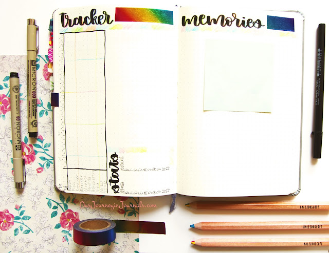 September bullet journal habit tracker and monthly memories setup