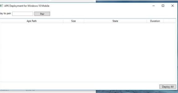 apk deployment for windows 10 mobile