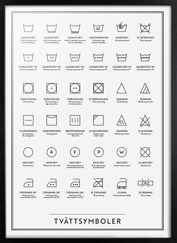 annelies design, tvätt, tvättstuga, tvättsymboler, symboler, kunskapstavlan, badrummet, tvättstugan, svart och vitt, svartvit, svartvita,