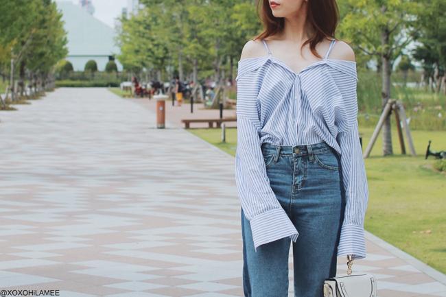 日本人ファッションブロガー,MizuhoK,今日のコーデ,SheIn-ストライプ3ウェイシャツ,Rosegal-ブルーラインフレイドヘムジーンズ,Choies-ブラックトゥストラップパンプス,SheIn-リングミニバッグ,大人カジュアル スタイル