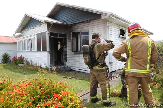 Police, Hastings and Napier Fire Services and St John Ambulance attended a fire at 602 Miller St, Hastings, where the house appeared to be gutted. photograph