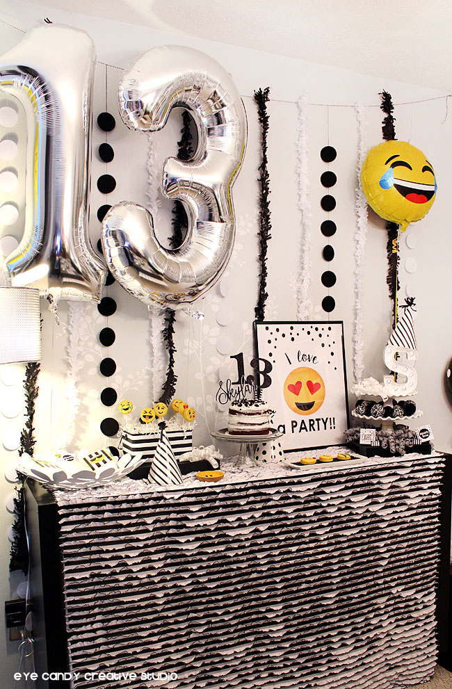 13 balloons, emoji balloons, emoji treats, emoji birthday party, stripes