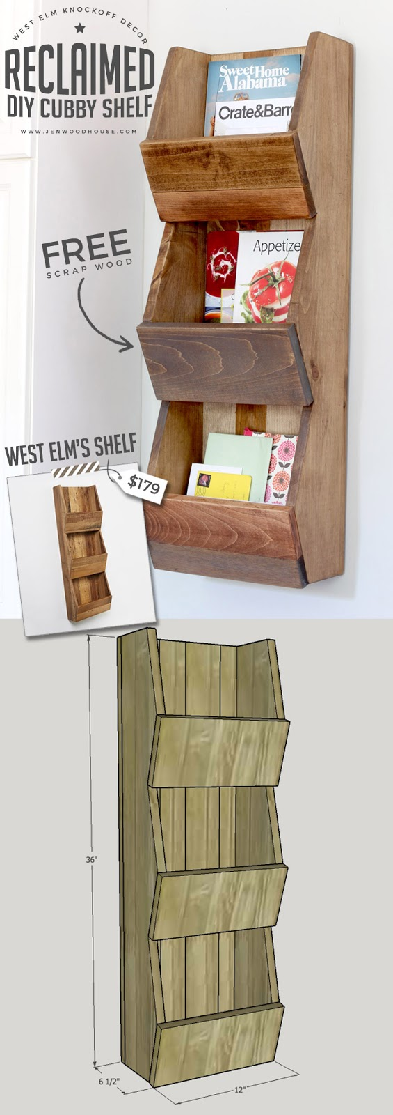 knock off West Elm wall shelf