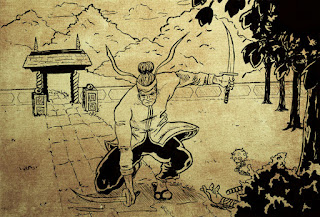 Dessin d'un samouraï et ses katanas - façon parchemin