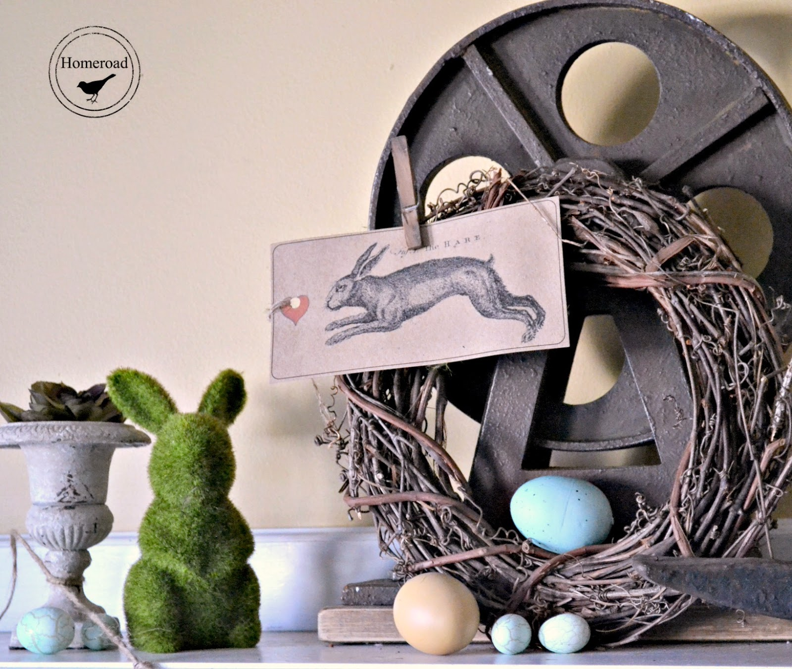 Bunny Garland and an Easter Mantel www.homeroad.net