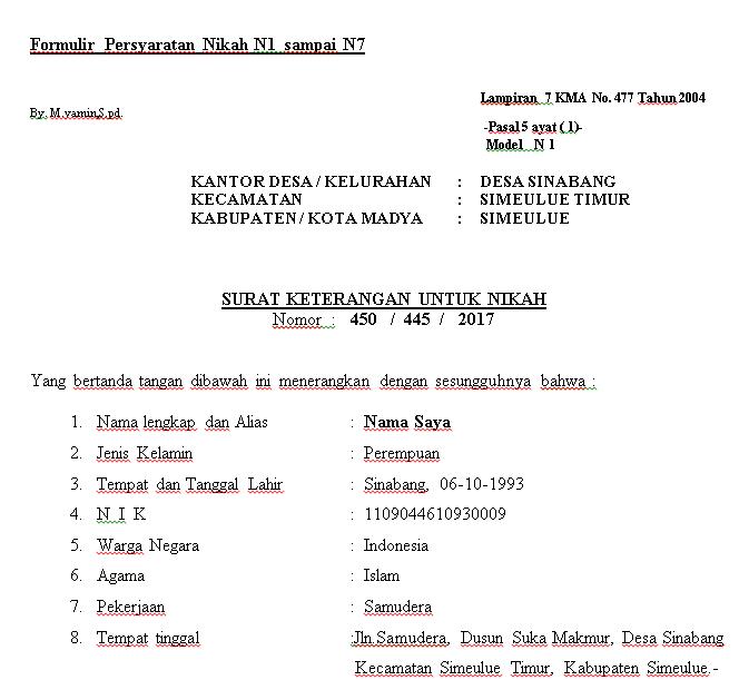 Formulir Persyaratan Nikah N1 Sampai N7 Portal Resmi Kantor Desa