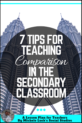 Find 7 ideas or tips on how to teach comparison in the secondary classroom that go beyond the Venn diagram and stress student-centered learning activities. Remembering the last tip is so important!