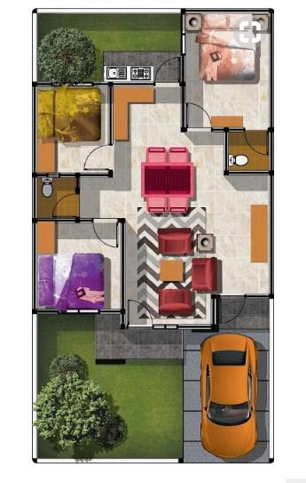 denah rumah minimalis 1 lantai ukuran 6x12