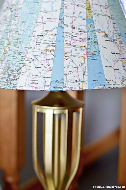 Gold base and map page lampshade lamp makeover - One Mile Home Style