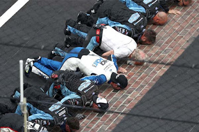 The hometown kid from Mitchell, Indiana, Chase Briscoe, kissed the bricks at Indianapolis Motor Speedway.  #NASCAR
