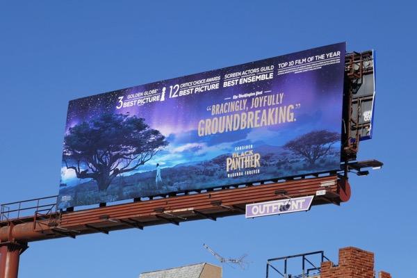 Black Panther Golden Globe nominee billboard