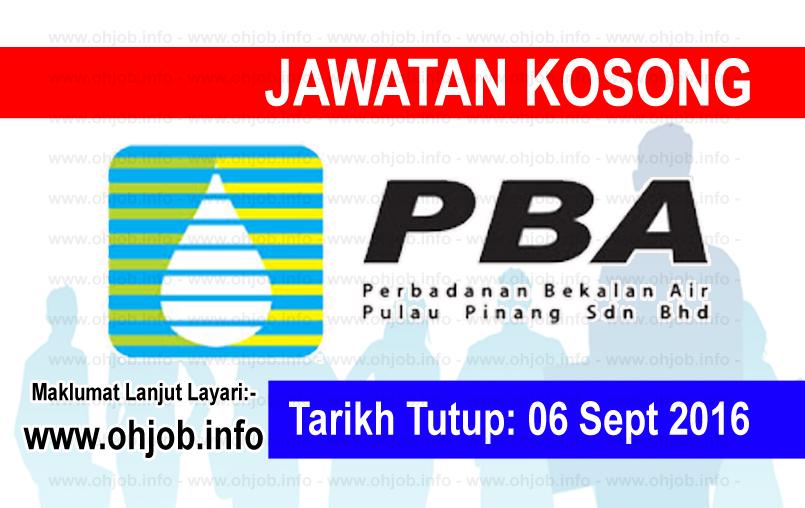 Jawatan Kerja Kosong Perbadanan Bekalan Air Pulau Pinang (PBA) logo www.ohjob.info september 2016