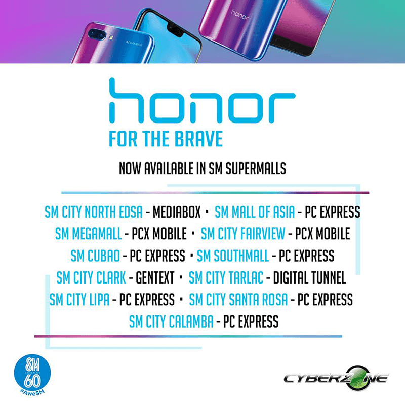 Honor smartphones are now available in select retail stores in the Philippines!