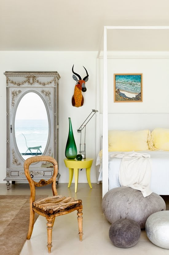 Safari Fusion blog | Modern bohemian | A Wilderness coastal home with a modern bohemian bedroom filled with South African handmade objects and textiles