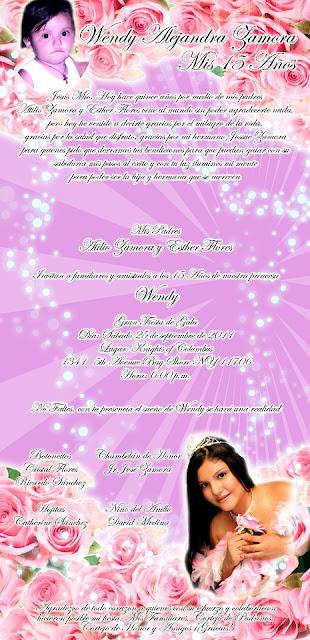 Tarjeta de Invitación Novedosa para tus 15 Años Lila con Rosas