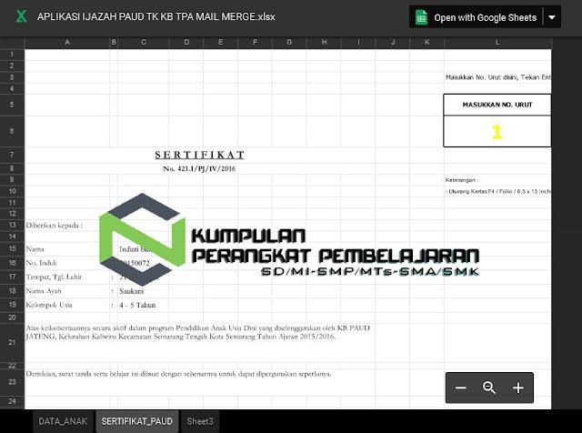 Aplikasi Ijazah Tk Paud Excel Desain Keren Bagipedia