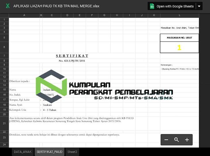 Aplikasi Ijazah TK PAUD Excel Desain Keren