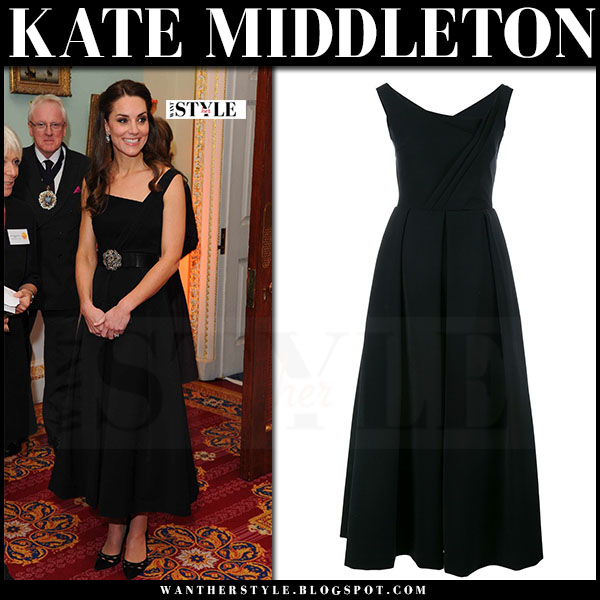 Kate Middleton In Black Pleated Midi Dress At Wellbeing In School