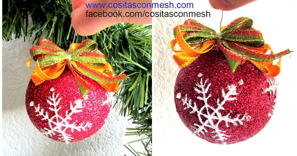C mo hacer esferas navide as econ micas y f ciles cositasconmesh - Como decorar una bola de navidad ...