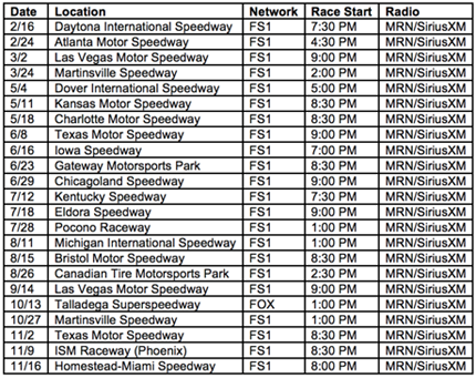 #NASCAR Camping World Truck Series Schedule