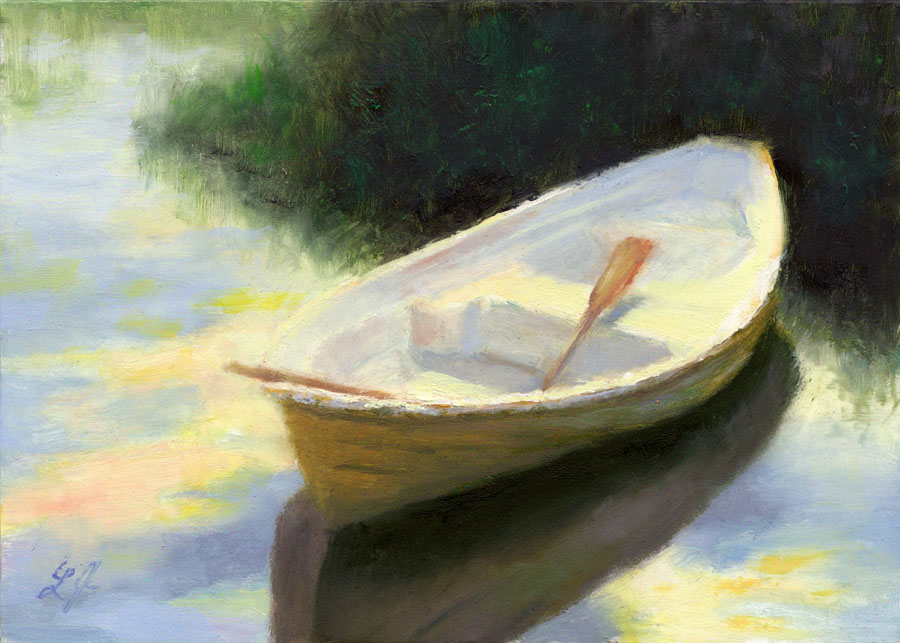 Greatest Linda's Witness in Art: Row Boat at Sunset 5 x 7 oil Sold QU64