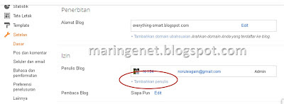 Admin Baru, Blogspot